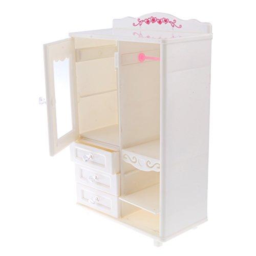 Homyl Puppenhaus Schlafzimmer Puppenmöbel Mini Kleiderschrank Schrank aus Kunststoff für BJD Puppe Zubehör