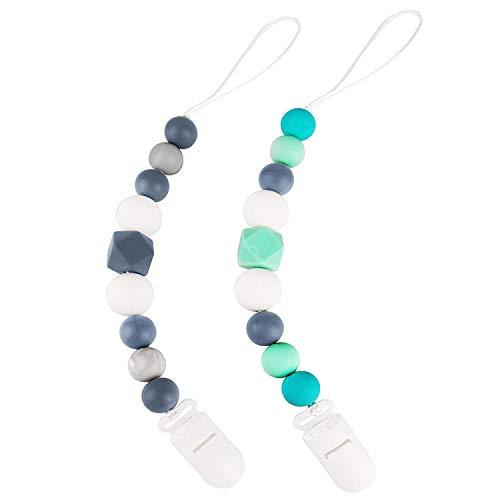 Clip per ciuccio (2 pezzi), perle di dentizione in silicone supporto per massaggiagengive - catenelle porta succhietto perfetta per tutti ciucci, giocattoli per dentizione e per la doccia per bambini