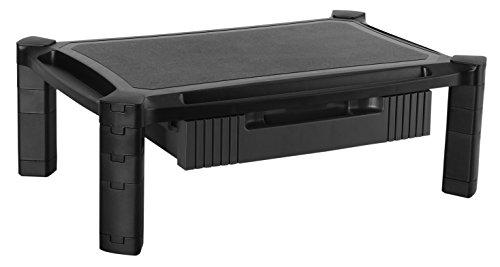 RICOO Monitorständer Höhenverstellbar WM2-L Universal Monitorstandfuß Bildschirmständer Monitor Erhöhung Modular Podest Organizer mit Schublade Standfuß 33-84cm 13-32 Zoll Kunststoff Schwarz Diagonale Elite Screens