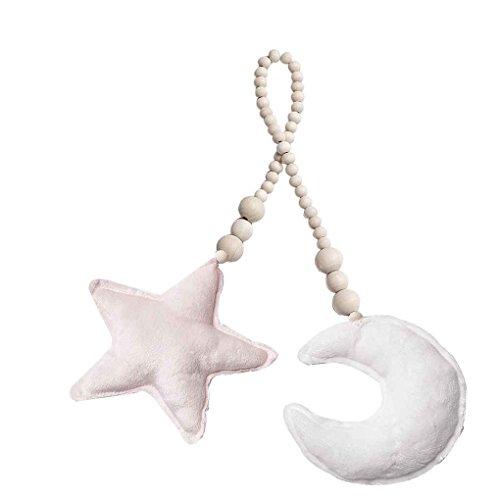Focus Neugeborenes Baby-Kissen Mond Krippe Moible Sterne Holzperlen Strings Spielzeug Kleinkind Schlafzimmer Krippe Zelt Fotografie Prop Weiß Mond + rosa Stern