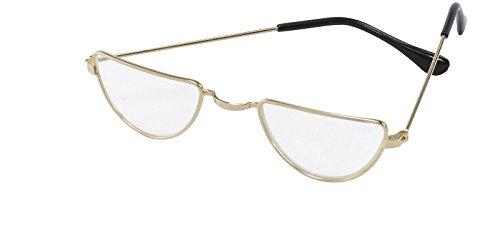 Goldfarbene Halbmondbrille, Accessoire für Oma-, Richter-, Lehrer- und Weihnachtsmannkostüme