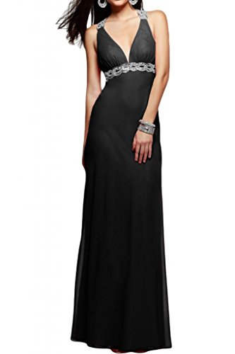 Toscane mariée chic rueckenfrei chiffon abendkleider avec décolleté en v longueur fixe party ballkleider prom Noir - Noir