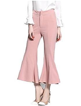 SYGoodBUY Pantalones Acampanados Delgados de Las Mujeres Pantalones Largos de Las Muchachas de la Cintura Rosada...