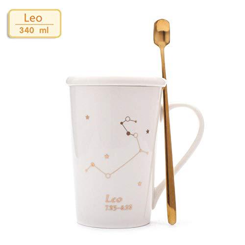JJLEzlAM Tazas De Café Tazas De Desayuno Tazas De Té Taza De Cerámica De Doce Constelaciones Taza De Cuchara Cubierta De Europa Taza De Regalo De Oficina para Parejas 12 Oz Cup @ B