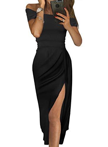 Aleumdr abito donna off shoulder vestito donna sexy manica corta abito donna eleganti tinta unita vestito donna lungo abito donna sexy