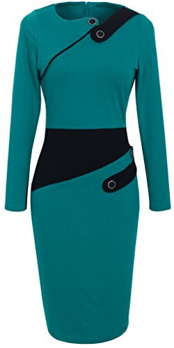 homeyee-womens-voguish-colorblock-wear-to-work-pencil-dress-ukb231-large-turquoise