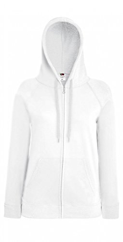 Fruit of the Loom: Lady-Fit Lightweight Hooded Sweat Jacket 62-150-0, Größe:L;Farbe:White (Hooded Pullover Lightweight)