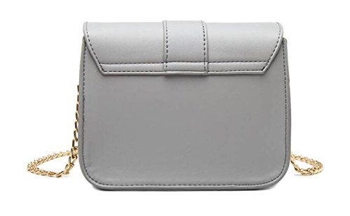 766f902289c63 Damen Ketten Tasche Schultertasche Umhängetasche Mode Elegante Vintage  Kleine Handtaschen Mini Black Bag Grey ...