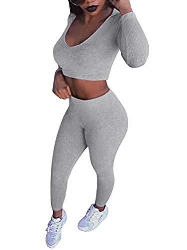 Tomwell Damen 2 Stücke Set Outfit Sport Yoga Fitness Bodycon Slim Fit Jogginganzug Sportswear Casual U-Ausschnitt Langarmhemd Jumpsuit Crop Top + Leggings Grau 38