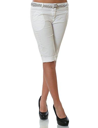 Damen Chino Capri Hose inkl. Gürtel (weitere Farben) No 13934, Farbe:Weiß;Größe:40 / L