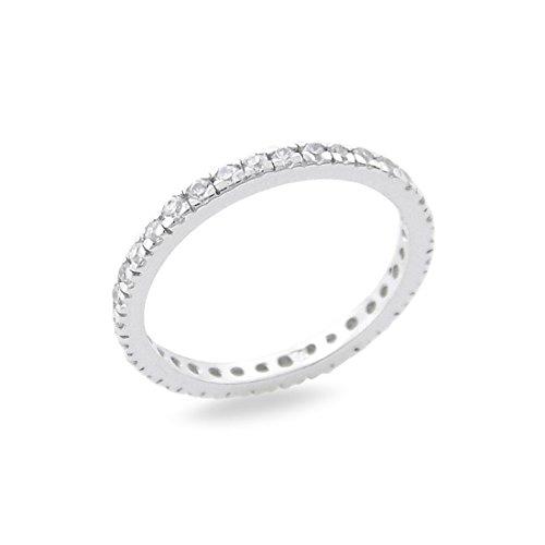 Anello in argento sterling 925 fedina giro zirconi bianchi con griffe donna regalo anniversario - 16