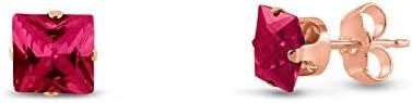 Cuadrado Kezef 4x 4mm Lab creado rojo Ruby bañado en oro rosa Pendientes de tuerca de plata de ley