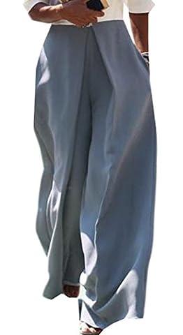 Fulok Womens Classic Wide Leg Loose Casual Solid Comfy Pant Gray L