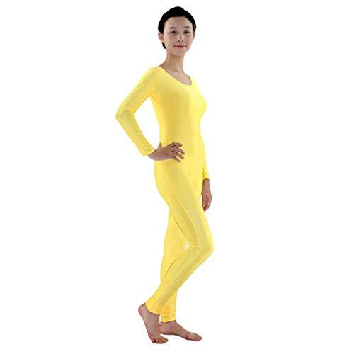 Hellery Zentai Ganzkörperanzug Kostüm Erwachsene Langarm Ganzanzug One Piece Fitness Ballett Trikot Ballettanzug Tanz-Body - Gelb, M
