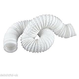 White Flexible Fan Ducting - 6m Long Extractor Fan Hose Tube - 6 150mm Diameter by ACEL