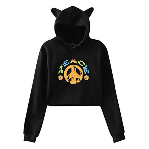 Johnson hop Friedenszeichen Mit Den Blumen Katze Ohr Hoodie Pullover Mädchen Ernte Top Mode Warm Cool(XXL,Schwarz) -