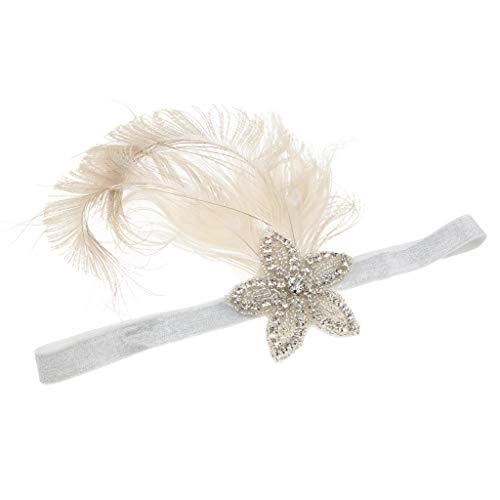 IPOTCH Vintage Damen 1920s Stirnband Pfau Feder Flappers Haarband Gatsby Feder Kopfschmuck Great Gatsby Haar Zubehör Kopfstück
