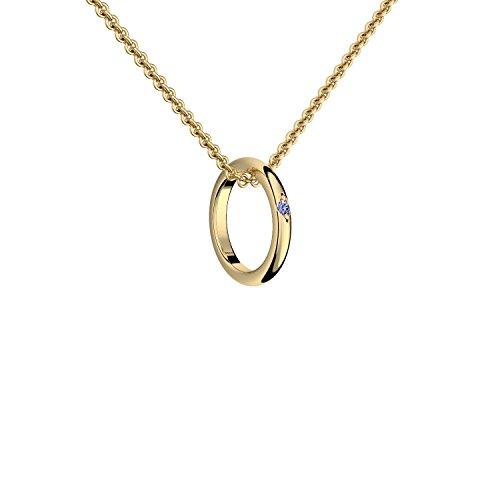 Ring Anhänger Kette Gold 333 mit Saphir + inkl. GRATIS Luxusetui + Ring an Kette Taufring Taufkette Goldanhänger Goldkette 333er Gelbgold Memory Ringkette Halskette FF405 GG333SAFA45