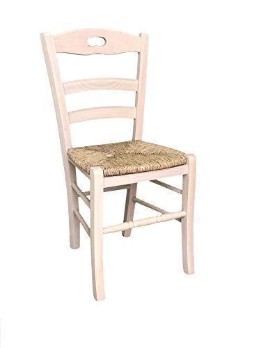 Okaffarefatto maddaloni sedia in legno massello seduta in paglia ristorante casa già montata legno grezzo da verniciare modello lory con poggiapiedi arrotondato