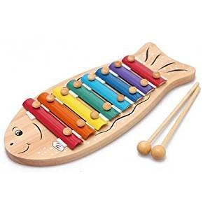 Little Sporter 8 Tasten Hölzernes Handklopfen Xylophon Kinder Spielzeug Musikinstrument mit 2 Mallets Kinderspielzeug size Fisch für Weisheit Entwicklung
