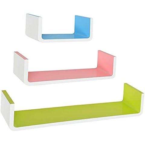 ts-ideen 7164 Set di 3 mensole da parete con sagoma rettangolare a U stile retró in diversi colori.