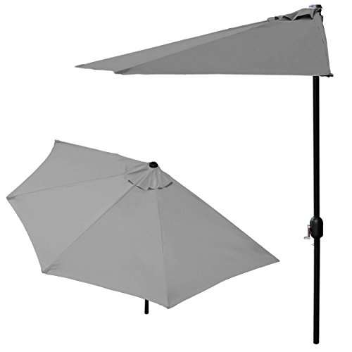 Sonnenschirm 250cm Alu halbrund weiß schwarz grau creme oder taupe Gartenschirm, Farbe:weiß