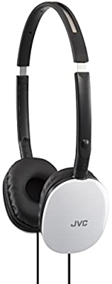 JVC Flats Lightweight On-Ear Headphones Compatible with iPhone and Android Devices - White
