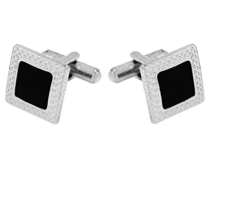 TRIPIN Silver and Black Metal Cufflinks For Men