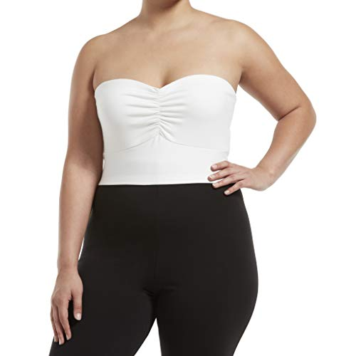 HUE Damen Blackout Cotton Midriff Bandeau Tube Halter Top, Assorted Hemd, White, 1X -