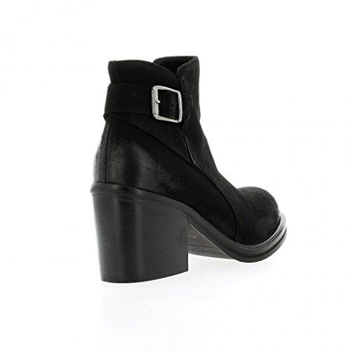 Nuova riviera Boots cuir nubuck noir Noir