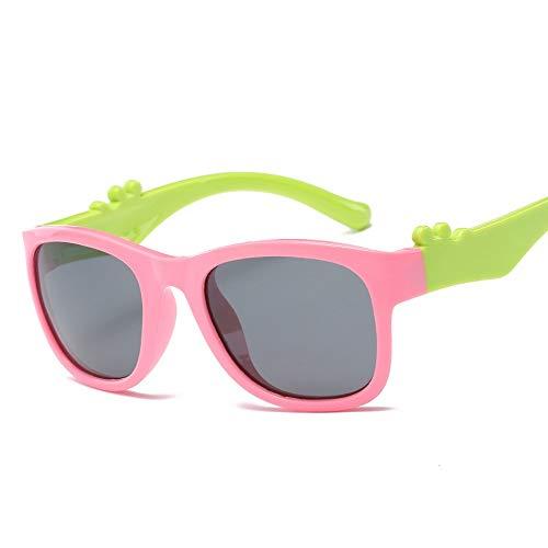 Easy Go Shopping Bunte polarisierte Silikon Mode Persönlichkeit Sonnenbrille Kinder Sonnenbrille Sonnenbrillen und Flacher Spiegel (Color : Rosa, Size : Kostenlos)