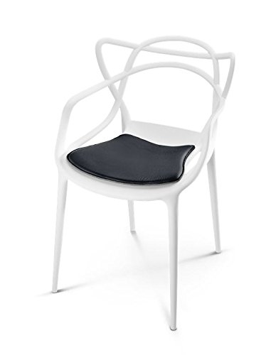 HILLMANN LIVING Sitzkissen Masters Chair - Sitzauflage aus Leder für Designklassiker Masters Chair, weich gepolstert und rutschfeste Beschichtung, 36 cm x 42 cm x 1 cm (schwarz / PURE BLACK)