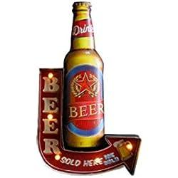 "Bar café signo de luz, Creative pared retro colgante LED decoración-53cm (21""), lámpara de luz noche bombilla, metal (cerveza)"