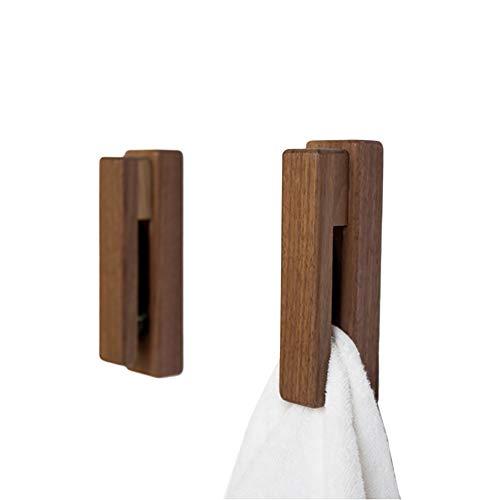 JINMURY Moderne Hölzerne Handtuchhalter - Satz von 2 Selbstklebende Handtuchhaken Holz Wand Handtuchhalter Home Decor - Langlebig, Einfache Installation, Hält Fest Handtuch (Nussbaum) -