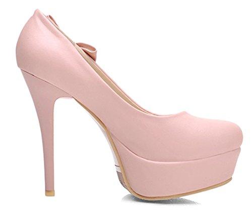 YE Frauen 12cm Absatz High Heels Plateau Stiletto Geschlossen Runde Zehe PU Leder Pumps mit Schleife Rosa
