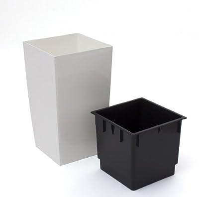 2 Stück Übertopf 4L inkl. Einsatz Coubi viereckig weiss Glanz Kunststoff von Prosperplast bei Du und dein Garten