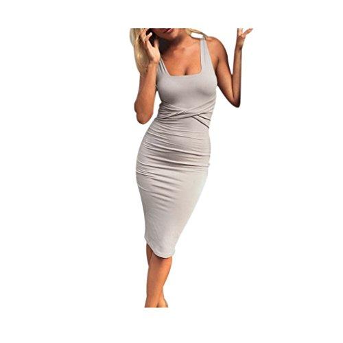 Koly_Donne senza maniche aderente del partito Slim Cocktail Club Mid Dress Grigio