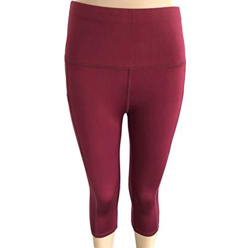 Lazzboy Frauen Leggings Hohe Taille Yoga Hosen Taschen Bauch Training Laufen Sport(2XL,Wein)