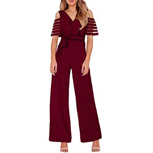Damen Mode Hohe Taille Mit Kalten Schultern Volltonfarbe Weites Bein Overall Weiß Schwarz Rot Marine S/M/L/XL