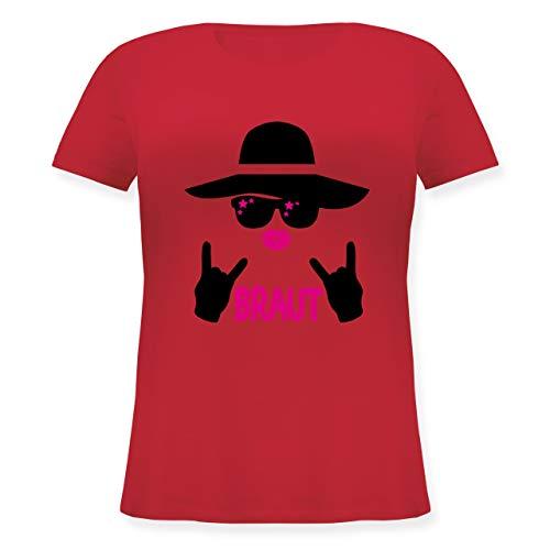 JGA Junggesellinnenabschied - Rocker Braut - schwarz - S (44) - Rot - JHK601 - Lockeres Damen-Shirt in großen Größen mit Rundhalsausschnitt