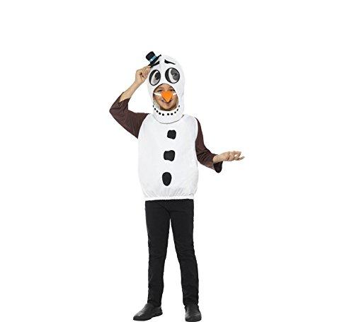 Smiffys Kinder Unisex Schneemann Kostüm, Oberteil, Karotten Nase und Kopfteil mit linsenförmigen 3D Augen, Alter: 10-12 Jahre, 48073 (Kostüm Für Karotte Kinder)