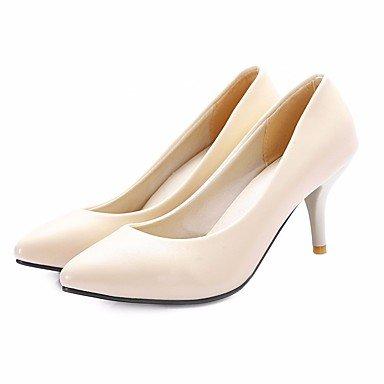 pwne Donna Comfort Tacchi Pu Molla Casual Stiletto Heel Arrossendo Beige Rosa Nero 4 In-4 3/4In US5.5 / EU36 / UK3.5 / CN35
