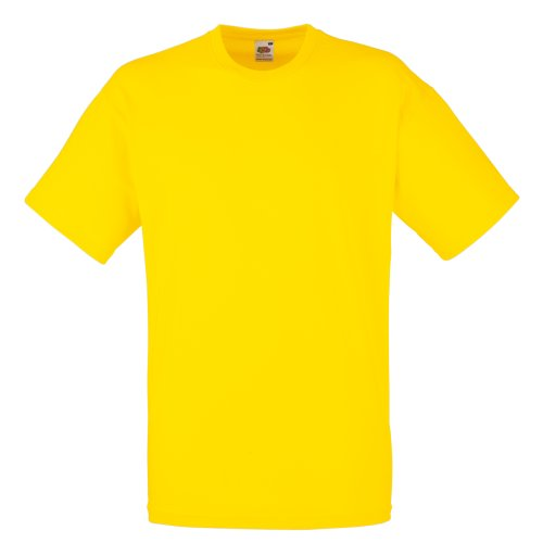 Fruit Of The Loom - Camiseta Básica de manga corta modelo VALUEWEIGHT - Hombres (Mediana (M)/Amarillo)