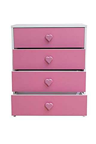 Devoted2Home Children's Bedroom Furniture with Chest of 4 Drawers with Heart Handle, Wood, Pink, 35.20 x 59.8 x 75.3