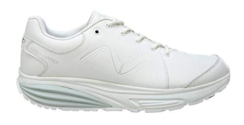 MBT 700860 Simba Trainer M Hombre Zapatos de Cordones,de Caballero Zapato Equilibrio,Suela Curva,White/Silver,44 EU,10 US