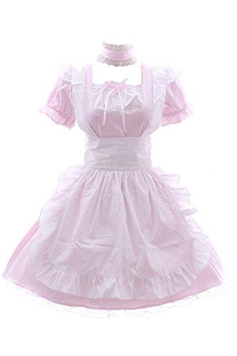 JL-576-3 rosa weiß Maid Zimmermädchen Zofe Gothic Lolita Kleid Kostüm dress Cosplay (EUR (Kleid Gothic Maid)