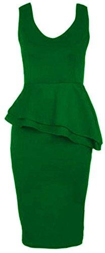 Chocolate Pickle ® Nouveau Femmes Side Slant Double volants moulante Peplum Midi Dress 36-54 green