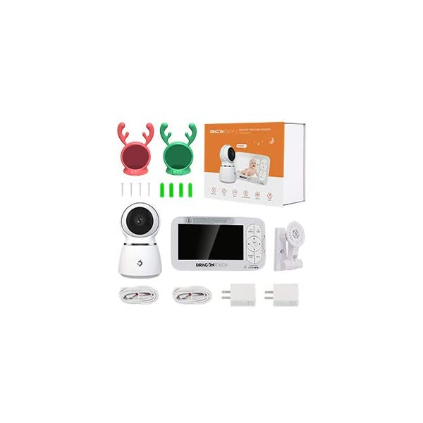 Baby Monitor, Dragon Touch 5 Inch 720P HD Video Baby Monitor with Remote Pan-Tilt-Zoom, Infrared Night Vision, 2-Way Audio, 5 Lullabies, and Temperature Monitoring Capability - Babycare Dragon Touch 720P HD display 3 times clarity than normal 480P display baby monitor. 5-inch large screen give you a better visual experience. The handheld viewing screen let you control the baby camera as you wishes. When the 70° glass lens is combined with the 340° horizontal and 90° vertical rotation range it creates a complete 360° coverage. High-quality built-in microphone and speaker give you the crystal clear two-way communication with your baby. 9