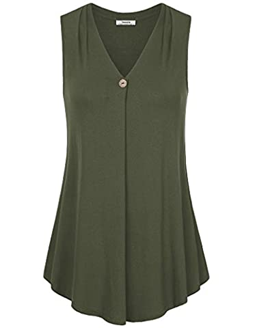 Youtalia Frauen ärmelloses einfarbiges Shirt, V-Ausschnitt, A-Linie, locker sitzendes Tank-Top, auch für Büro Grün L