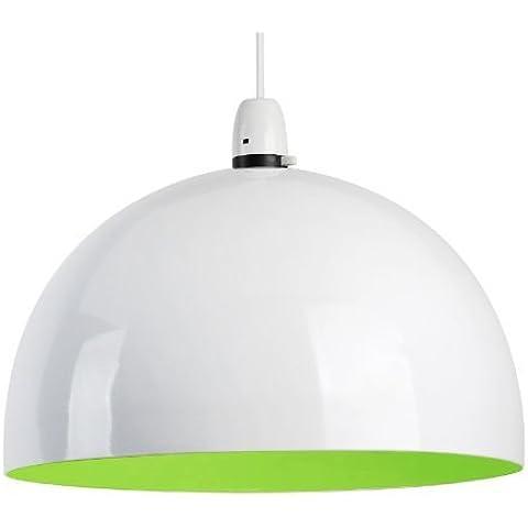 MiniSun - Moderna pantalla de lámpara de techo del afamado estilo 'arco', de metal, en blanco y verde brillante en forma de globo